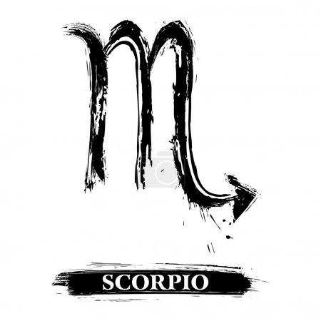 Illustration for Zodiac sign Scorpio created in grunge style - Royalty Free Image