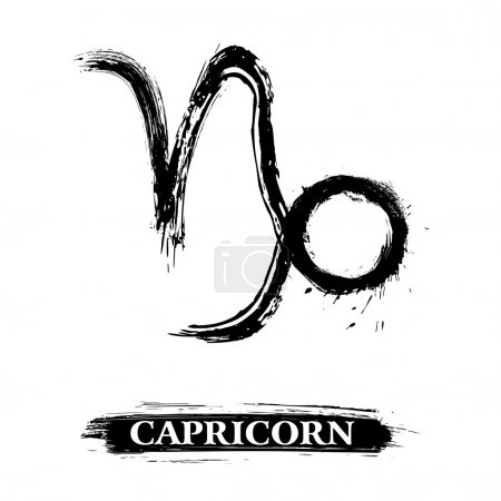 Zodiac sign Capricorn created in grunge style...