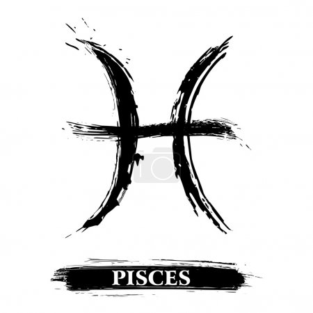 Illustration for Zodiac sign Pisces created in grunge style - Royalty Free Image