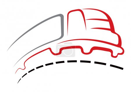 Photo pour Grand camion sur la route en mouvement - image libre de droit