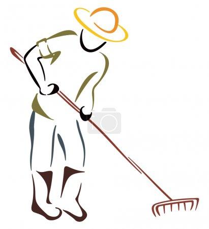 Illustration pour Fermier avec râteau de jardin sur blanc - image libre de droit