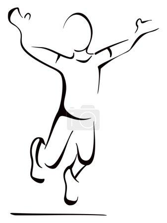 Illustration pour Illustration de l'homme sauté dans la joie - image libre de droit