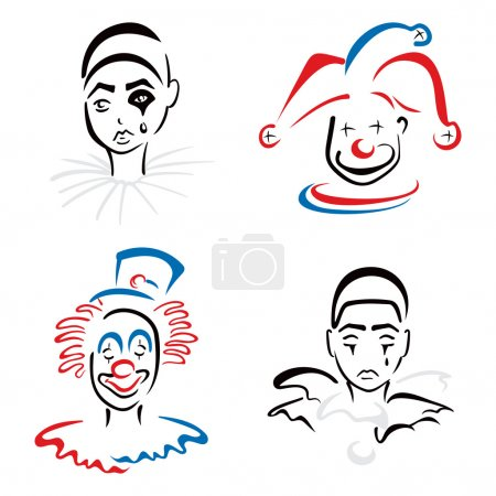 Illustration for Jester pierrot and clown on illustration - Royalty Free Image