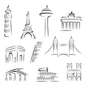 Set of world most famous landmarks at sketch