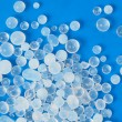 Macro of silica gel on blue background
