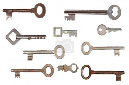 Photo for Set of old keys isolated on white background - Royalty Free Image