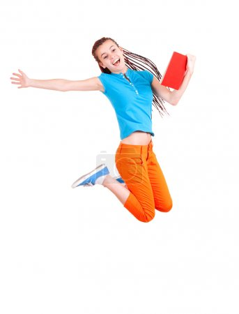 student girl jumping with book, white background
