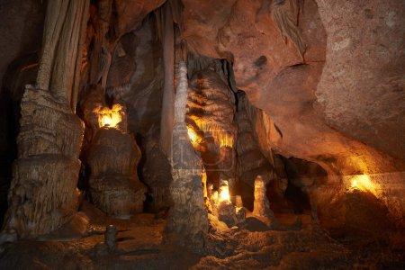 Unique cave formation- big stalactites, stalagmite...