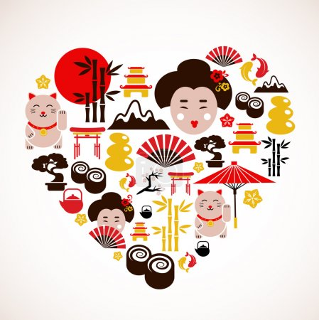 Illustration for Heart shape with collection of Japan icons - Royalty Free Image