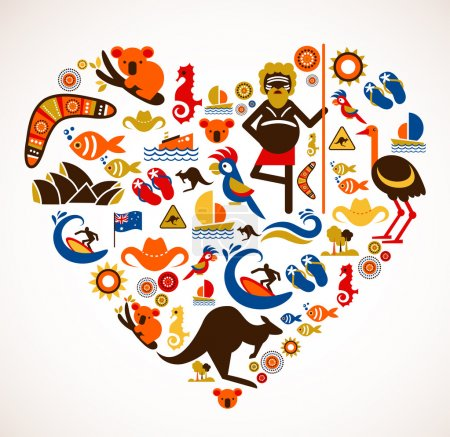 Australia love - heart with set of vector icons