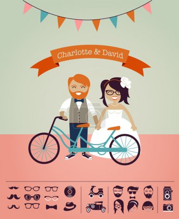Illustration for Hipster wedding - choose your person and accessories - Royalty Free Image