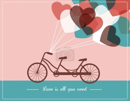 Illustration for Retro style Valentine's card with tandem bicycle - Royalty Free Image