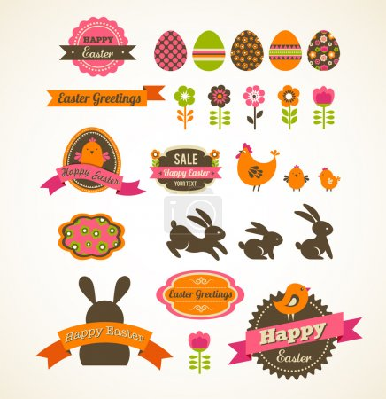 Set of easter vintage elements, banner, labels and frames