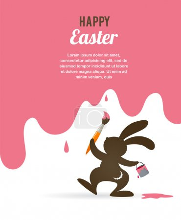 Illustration for Easter retro greeting card with bunny, vector illustration - Royalty Free Image