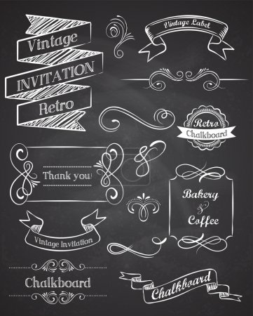 Photo for Chalkboard vintage elements and frames - Royalty Free Image