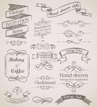 Photo for Hand drawn vintage elements and frames - Royalty Free Image
