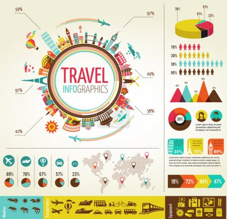 Travel infographics with data icons