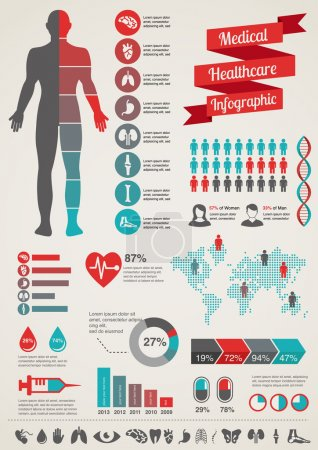 Illustration for Medical and healthcare icons and data infographic, - Royalty Free Image