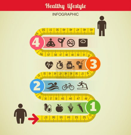 Illustration for Fitness and diet infographic - Royalty Free Image