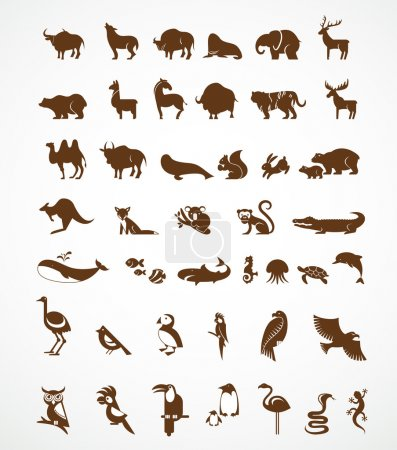 Illustration for Vector collection of animal vector icons - Royalty Free Image
