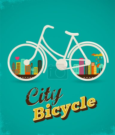 Illustration for Bicycle with city landscape, vintage poster - Royalty Free Image