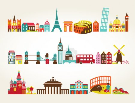 Photo for Travel and tourism locations, vector icons - Royalty Free Image
