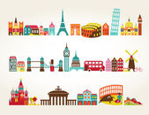 Travel and tourism locations vector icons