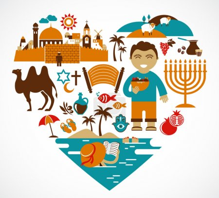 Israel - heart with set of vector illustrations