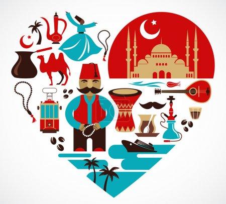 Illustration pour Turquie cœur avec beaucoup d'icônes vectorielles et d'illustrations - image libre de droit
