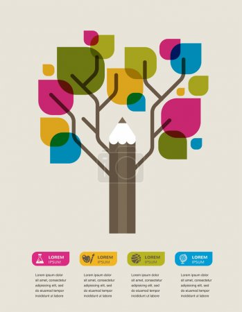 Illustration for Pencil tree, education theme infographic, data, icons and graphic elements - Royalty Free Image