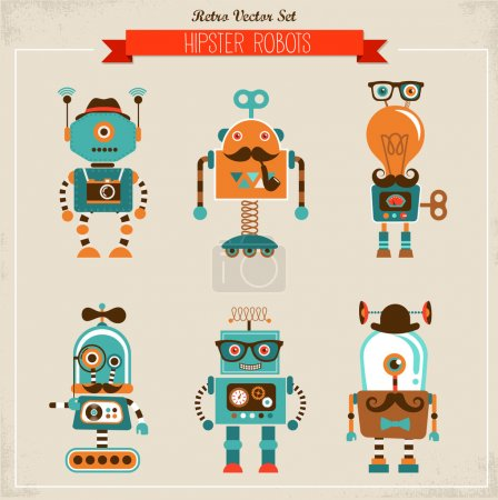 Illustration for Set of cute hipster vintage robots - Royalty Free Image