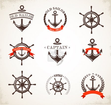 Set of vintage nautical icons and symbols