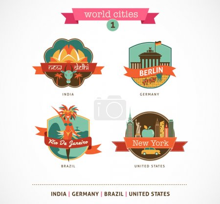 Illustration for World Cities labels and symbols - Delhi, Berlin, Rio, New York - 1 - Royalty Free Image