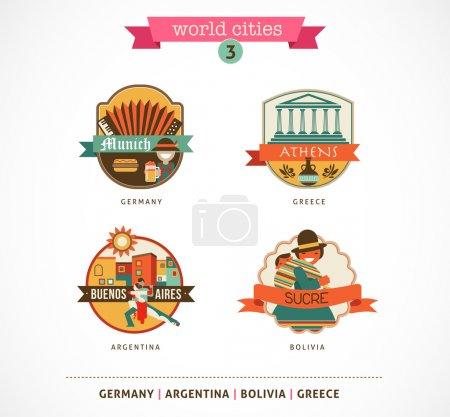 Photo pour Étiquettes et symboles des villes du monde - Sucre, Buenos Aires, Munich, Athènes - 3 - image libre de droit