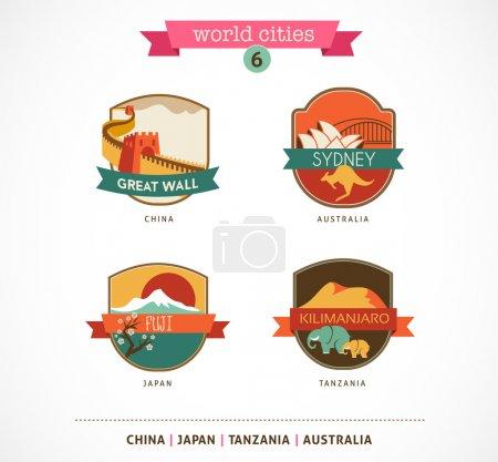 Photo pour Étiquettes et symboles des villes du monde - Sydney, Grande Muraille, Fuji, Kilimandjaro - 6 - image libre de droit