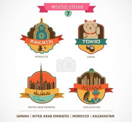 Photo pour Etiquettes et symboles des villes du monde - Marrakech, Tokio, Astana, Dubaï - 7 - image libre de droit
