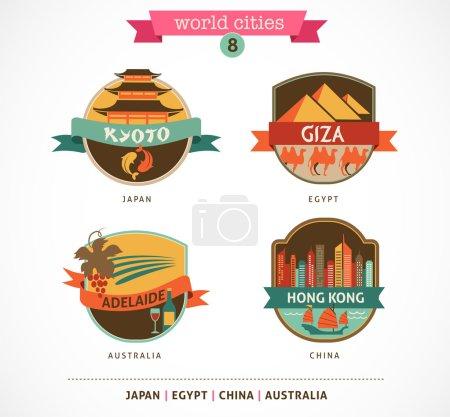 Photo pour Étiquettes et symboles des villes du monde - Kyoto, Gizeh, Adélaïde, Hong Kong, - 8 - image libre de droit