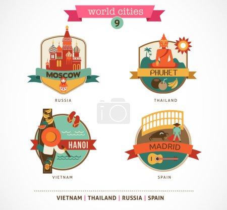 Photo pour Étiquettes et symboles des villes du monde - Moscou, Phuket, Madrid, Hanoi - 9 - image libre de droit