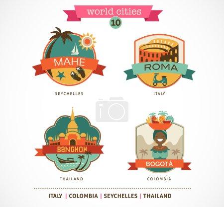 Photo pour Étiquettes et symboles des villes du monde - Mahe, Roma, Bangkok, Bogota - 10 - image libre de droit
