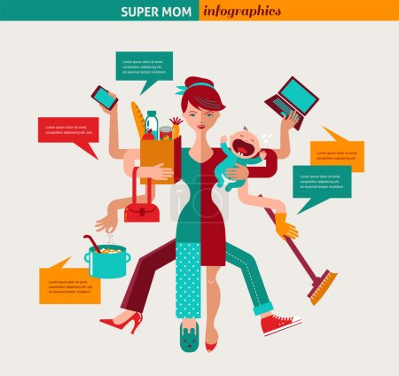Super Mom - illustration of multitasking mother