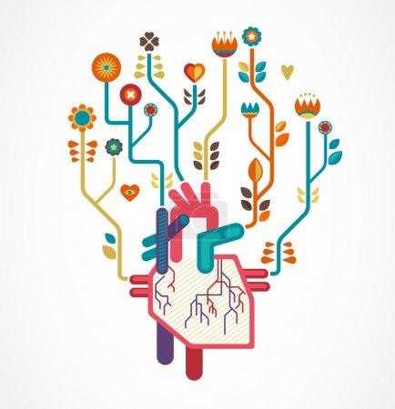 Illustration pour Amour background avec coeur et fleurs, fond de Saint Valentin - image libre de droit