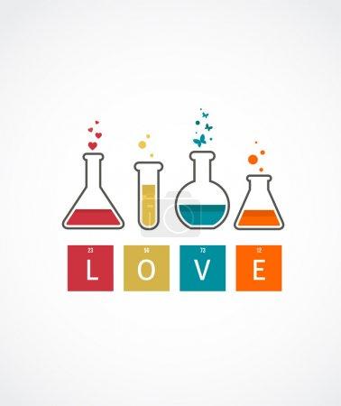 Illustration pour Chemistry of Love, fond vectoriel, carte Saint Valentin - image libre de droit