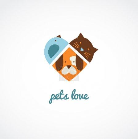 Illustration pour Animaux icônes vectorielles chats et chiens aiment - image libre de droit