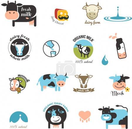 Illustration pour Lait et vache Étiquettes, éléments et icônes - image libre de droit