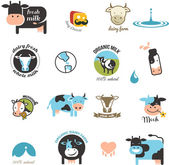 Milk and cow Labels elements and icons