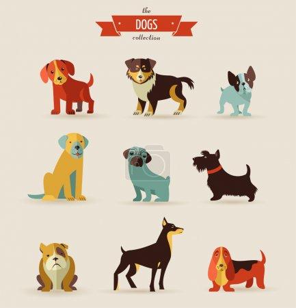 Illustration pour Ensemble vectoriel de chiens d'icônes et d'illustrations - image libre de droit