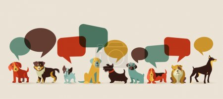 Illustration for Dogs with speech bubbles - vector set of icons and illustrations - Royalty Free Image