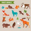 Forest animals vector set of icons and illustratio...