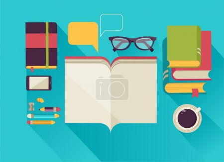 Illustration for Desktop with open book, book stock, coffee, set of flat vector icons - Royalty Free Image