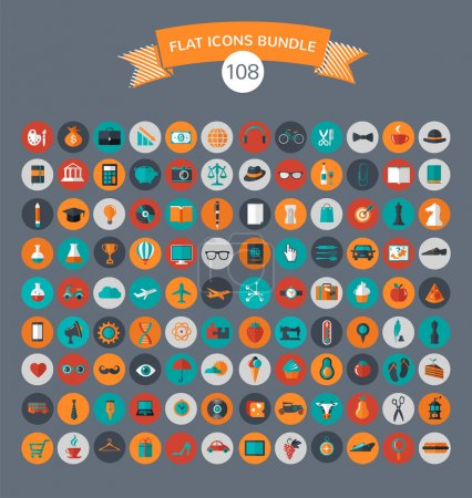 Illustration for Huge collection of flat vector icons with modern colors of travel, marketing,  hipster ,science, education ,business ,money ,shopping, objects, food - Royalty Free Image